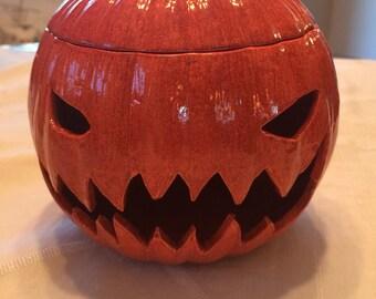 Pumpkin / Ceramic Pottery / Halloween / Jack-O-Lantern / Luminaire / Candy Dish / Fall / Thanksgiving / Orange