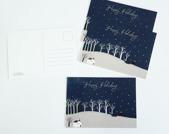 In the search for xmas tree - Holiday Post Card (set of 4)