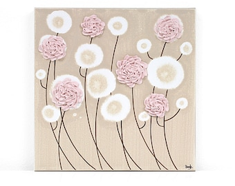 Baby Gift Girl Nursery Artwork - Sculpted Flower Painting on Canvas - Pink and Brown - Small 10x10