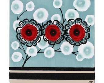 Canvas Wall Art Flowers - Blue and Red Original Painting of Flowers - Small 10x10