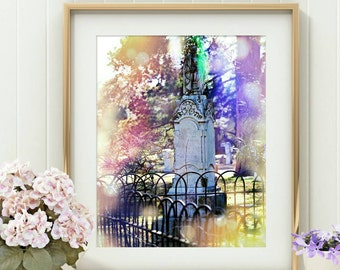 Gravestone Art - Altered Photography - Cemetery Art Print - Taphophile Gifts - Surreal Photography - Gothic Home Decor - Tombstone print