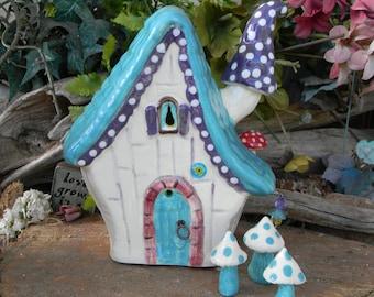 Fairy  House Ceramic Purple Turquoise red  amanita muscari Fly mushroom chimney -   Lighted Nightlight fantasy  room decor Garden Miniature
