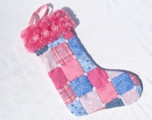 Baby's 1st Christmas Stocking Girl's Christmas Stocking Baby Girl Stocking Pink Plaid Stocking Personalized Stocking Patchwork Stocking