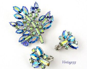 Brooch Set Blue Rhinestone Leaf Earrings B David
