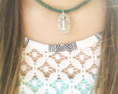 In Any Storm I Refuse to Sink Sea Glass Anchor Necklace A112