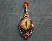Sauron's Eye Bindi II - Tribal, Belly Dance, Steampunk, Facial Adornment, Dragon, Orange