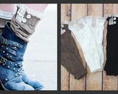 Limited Time SALE  Boot Cuff Leg Warmers with Crotchet trim and buttons Sale reg 22.00