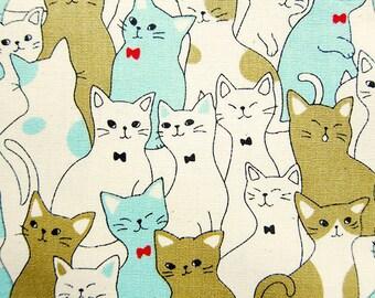 Animal Print Fabric By The Yard - Cat Family Portrait - Cotton Fabric - Half Yard