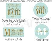 W125 - Custom classy chic address / envelope seal labels self adhesive personalized choose colors vinyl label sticker wrap waterproof
