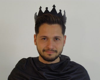 Black Crown,Black King Crown, Gothic Crown, The minimalist style crown,Men's crown,black and white party. READY To SHIP-10% discount
