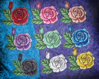 Rainbow Roses Rose Iron on patch pick your color