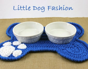 Feeding Mats for Dog, Placemat for Dog, Dog products, Unique Dog Gift, Dog Christmas Gift, Crochet, Dog Bone, Blue