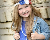 Headbands for girls, 4th of July Leather Rose Headband, Red White Blue Lace Headband, Independence Day