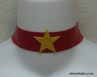 Latex Choker with Star, pearl snap closure, made-to-measure available.  Works great for Sailor Mars cosplay!