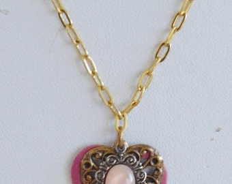 On Sale Pretty Vintage Fuschia Pink, Gold tone Filigree Heart Necklace, 18' (F2)