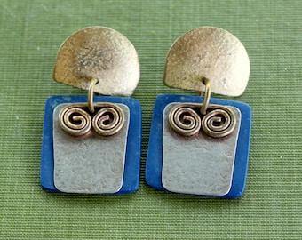 Boho Earrings Dangle Blue Vintage