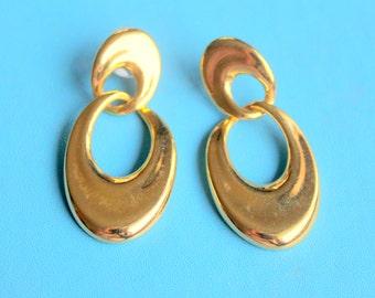 Vintage Earrings MONET Signed Gold Tone Dangle Pierced