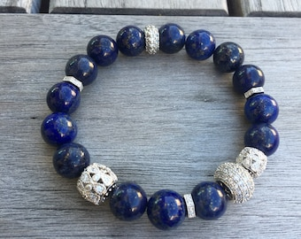 Natural Lapis bracelet with micro pave setting beads