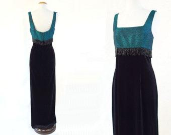 Emerald Green Dress, Vintage Beaded Dress, Black Velvet Maxi, 1990s Formal Dress, Beaded Fringe Dress, Holiday Party Dress, Small