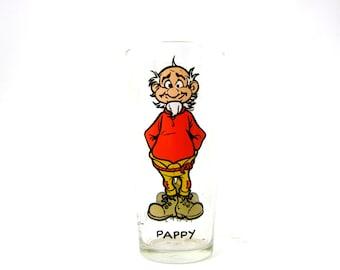 vintage PAPPY Yokum AL CAPP Lil Abner 16oz tall Brockway Collector Glass 1975 comic strip cup Barware Kitchen Decor