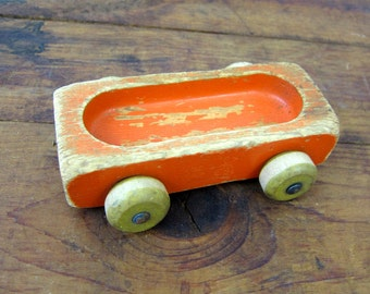Painted Orange Vintage Wooden Train Toy Chippy Paint Child's Playskool Wood Toy Display Jewelry Ring Holder