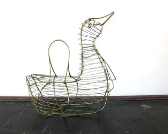 Vintage Wire Chicken Basket Hen Egg Basket Metal Cage Folk Art Kitchen Decor Dell's