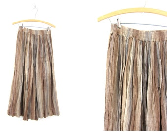 Vintage taupe brown cotton Full Skirt Earthy Boho Ethnic Full maxi Skirt Crinkled semi sheer skirt Elastic Waist Women's Size Large Dell's