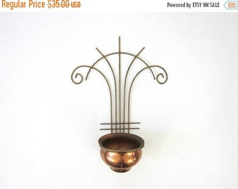 Vintage Mid Century Metal Atomic Plant Wall Hanger 1950's art deco Hanging Copper Planter Pot Louanne's Estate Sale