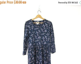 vintage long floral Dress. 90s Oversized Button Front Peasant Dress. Navy Blue Fall Boho Prep Dress