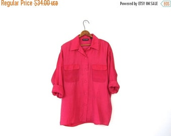 Pink Silk Blouse Slouchy 90s Magenta Button Up Pocket Shirt Long Sleeve Valentine's Day Minimalist Loose Fit 1990s Top Vintage Womens Mediu