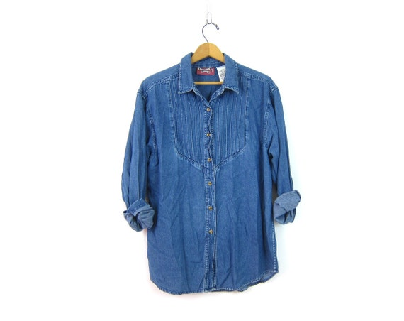 Vintage Jean Shirt Loose Fit Button Up shirt Preppy Hipster Denim Cotton Oversized Women's Size Medium