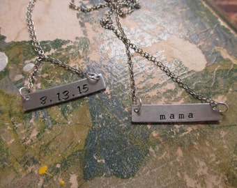 The Maxine Necklace - Hand Stamped Name Plate Necklace - Small