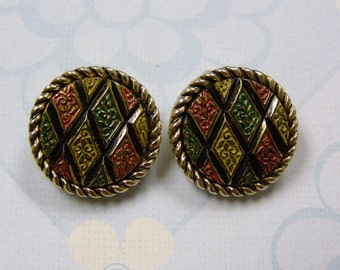 Vintage Sarah Coventry Multi-Colored Clip Back Earrings Gold Tone