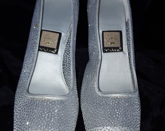 RETRO Retro Shoes High heel  Silver Mettalic Dots  by Nina size8 M Bridal Mother of the Bride Silver