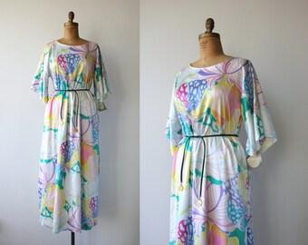 vintage christian dior dress / 1980s watercolor maxi dress / 80s designer caftan / dior caftan / nwt dior nos dior / abstract print