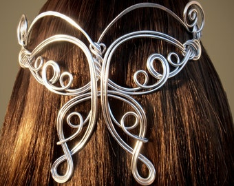 Butterfly Elven Coronation Circlet - Celtic Hand Wire Wrapped - Choose Your Own COLOR - Crown Bridal Tiara