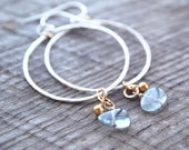 Hammered Circles with Smooth Moss Aquamarine Drops