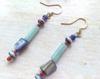 Dangle Earrings Boho Gypsy Jeans Fashion Style - Mother of Pearl , Wood , Amazonite ,Tibetan Coral