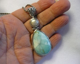 Larimar Sterling Silver and Button Fresh Water Pearl Pendant