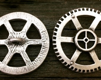 2 Steampunk Gear Pewter Shank Buttons 1 1/4 Inch (32 mm)