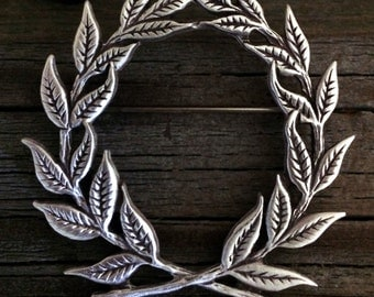 Laurel Wreath Pewter Brooch