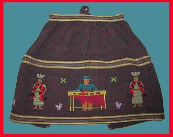 Too Adorable--Little Girls Folkloric Guatemalan Embroidered People Apron,Big Pockets,Vintage Accessories,Girls