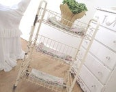 Vintage Rolling Cart * Baskets * Shabby Chippy Cottage * Old Farmhouse Charm