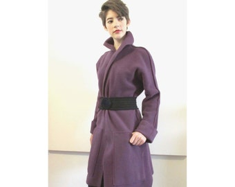 BASIA DESIGNS Provocatec Fleece Lavender Long Jacket - Free U.S. Shipping