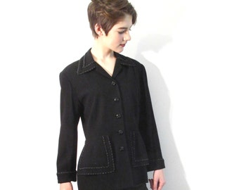 Black Beaded Vintage ZELDA Jacket from BASIA DESIGNS Private Collection - Free U.S. Shipping