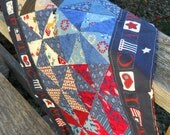 Large table quilt Country colors Americana home décor Rustic table décor Patriotic mini quilt Farmhouse quilt Picnic quilt Made in USA