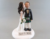 Wedding Cake Topper - Personalized Kissing Scottish Bride & Groom