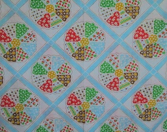 Vintage Twin Size Flat Sheet Bright Patchwork Print  Circles and Blocks NOS