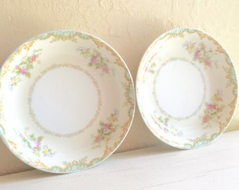 2 Two Beautiful Vintage Porcelain Noritake China Bowls Medium Dish Flowers Floral