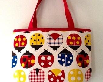 Jumbo Cotton Tote Bag / Storage Bin - Lady Bugs